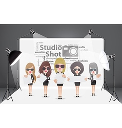 Woman posing fashion in photography studio vector image