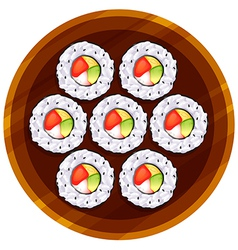 A topview of the sushi at the table vector image