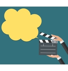 Abstract Cinema Clapper with Speech Bubble Flat vector