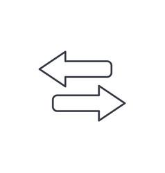 Arrows exchange thin line icon linear vector