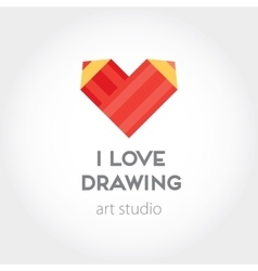 Art and design heart red pencils abstract vector image