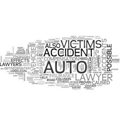 Auto accident lawyer text word cloud concept vector