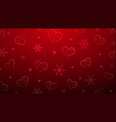 background of hearts and snowflakes vector image
