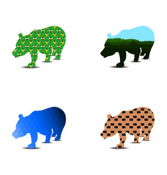 bear silhouette pattern a set of four pieces can vector image