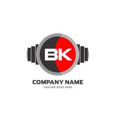 Bk letter logo design icon fitness and music vector