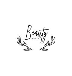 Black hand drawn floristic feminine brand logo vector