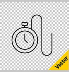 black line watch with a chain icon isolated on vector image