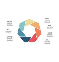 Business infographics heptagon chart with 7 steps vector