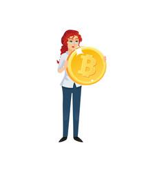 businesswoman holding golden bitcoin vector image