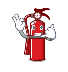 Call me fire extinguisher mascot cartoon vector