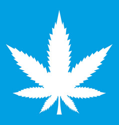 cannabis leaf icon white vector image