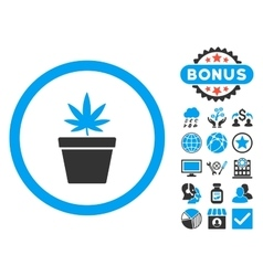 Cannabis Pot Flat Icon with Bonus vector image