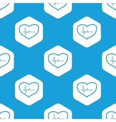 Cardiology hexagon pattern vector