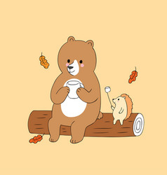 cartoon cute autumn bear and hedgehog camping vect vector image