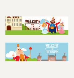 cartoon kingdom king princess character in vector image