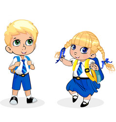 Cartoon school girl and boy wearing uniform with vector