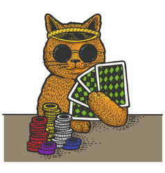 cat poker player sketch vector image