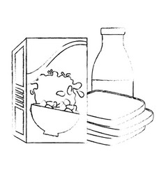 Cereal box with bread and milk bottle vector