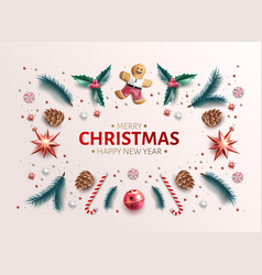 Christmas background holly spruce jingle vector