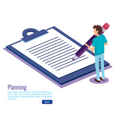 clipboard checklist with man isometric vector image