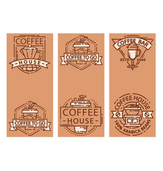 Coffee cards food design thin line for restaurant vector