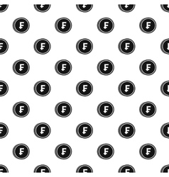 Coin with Swiss franc sign pattern simple style vector image