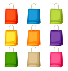 Colored shopping bags templates set of vector