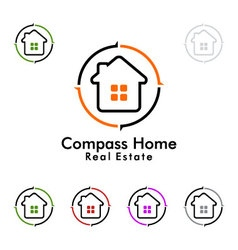 Compass home represented real estate logo vector