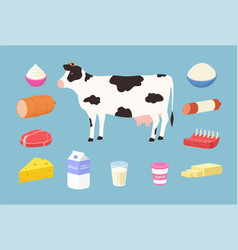 dairy products and meat products from cows vector image