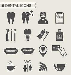 Dental icons Monochrome vector image
