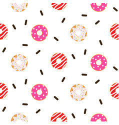 Donut pink glazed seamless pattern vector