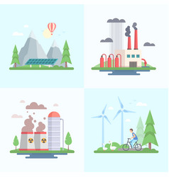 Ecology - set of modern flat design style vector