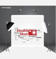 Empty photo studio with lighting equipment vector image