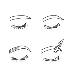 eyebrows shaping linear icons set vector image