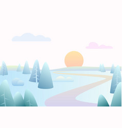 fantasy simple winter road river landscape with vector image
