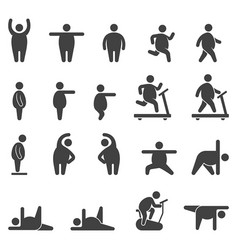fat body aerobic exercise icons vector image