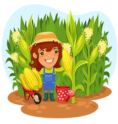 Female farmer in a cornfield vector