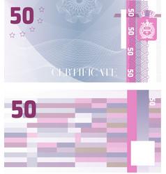 Gift certificate voucher template 50 vector