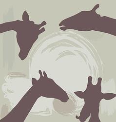 giraffes silhouette on grunge background vector image