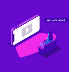 girl watching movie vector image