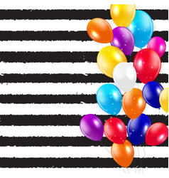 Glossy happy birthday balloons background vector