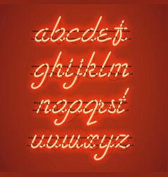 Glowing orange neon lowercase script font vector