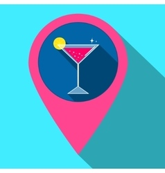 Gps navigation style icon with drink Flat vector