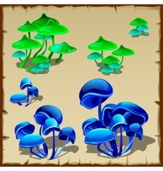 Green and blue fictional mushroom vector image