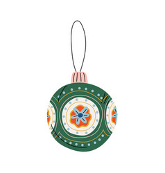 Green bauble ball traditional christmas decoration vector