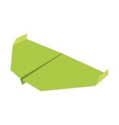 Green paper aircraft flight toy vector