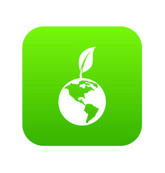 green world qlobe with leaf icon digital green vector image