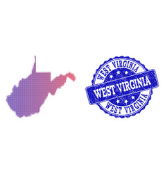 Halftone gradient map of west virginia state and vector