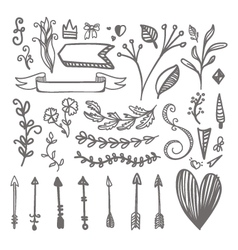 Hand drawn pattern on hearts bows arrows vector