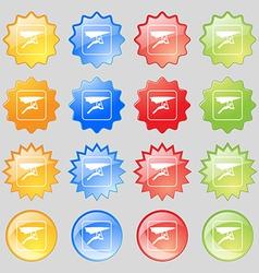 hang-gliding icon sign Big set of 16 colorful vector image